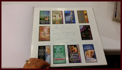 Page of book for book signing featuring all the books from favorite authors
