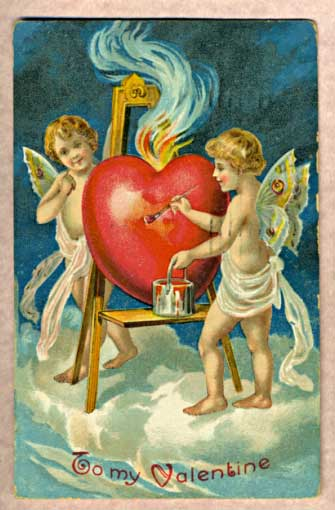 Antique Valentine of two cupids and a heart