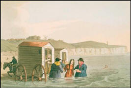 Illustration of very wet young woman being helped out of a bathing machine.