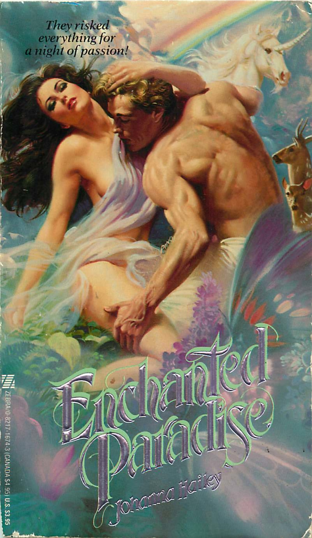 Enchanted Paradise - he's mouthing her neck, she's wearing a fluffy dryer sheet, and there are UNICORNS AND RAINBOWS
