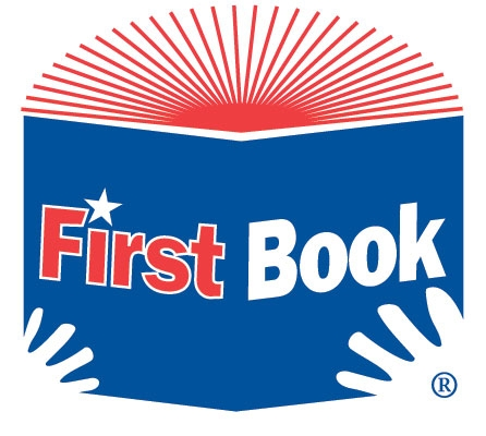 First Book Logo - Hands on a blue book spine with red pages fanning above
