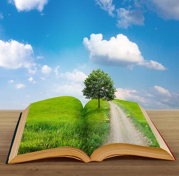 An open book with a field and a tree in the pages against a backdrop of the sky