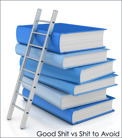 A stack of blue books with a ladder leaning on it, with the words