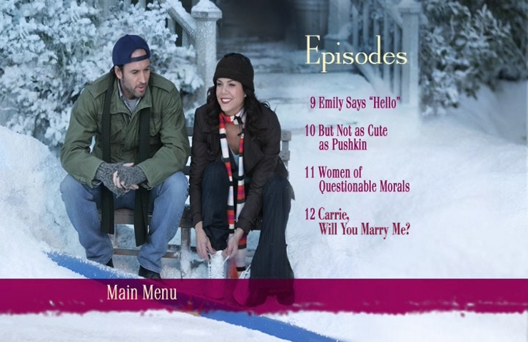 Altered Gilmore Girls DVD menu that says Carrie Will You Marry Me for chapter 12