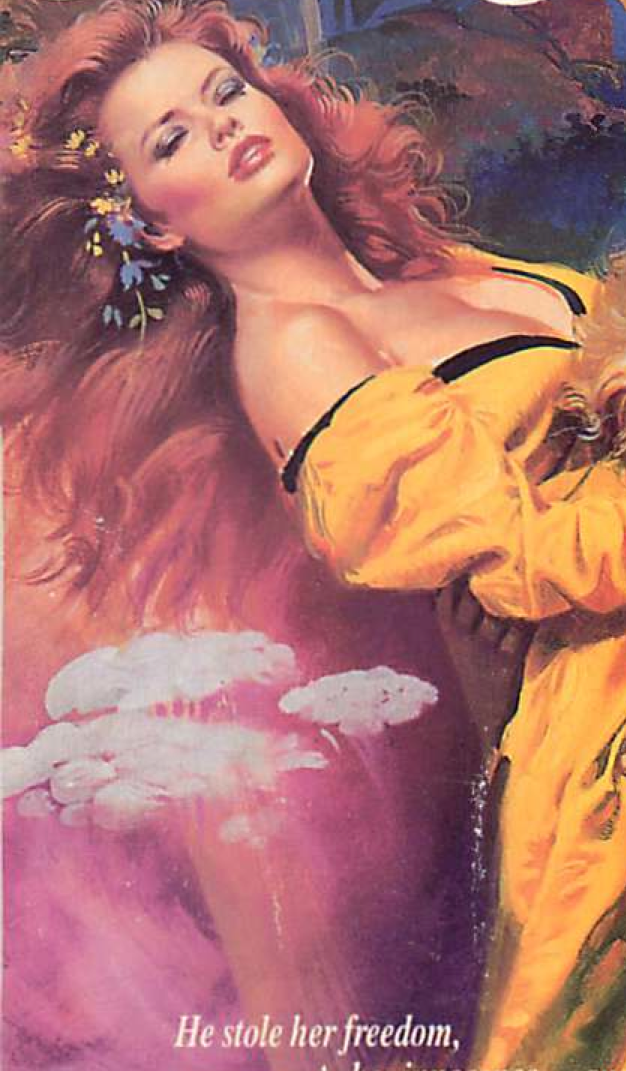 Red Haired woman bent backwards wearing a bright yellow dress while white clouds of something against a pink background seem to emerge from her back side