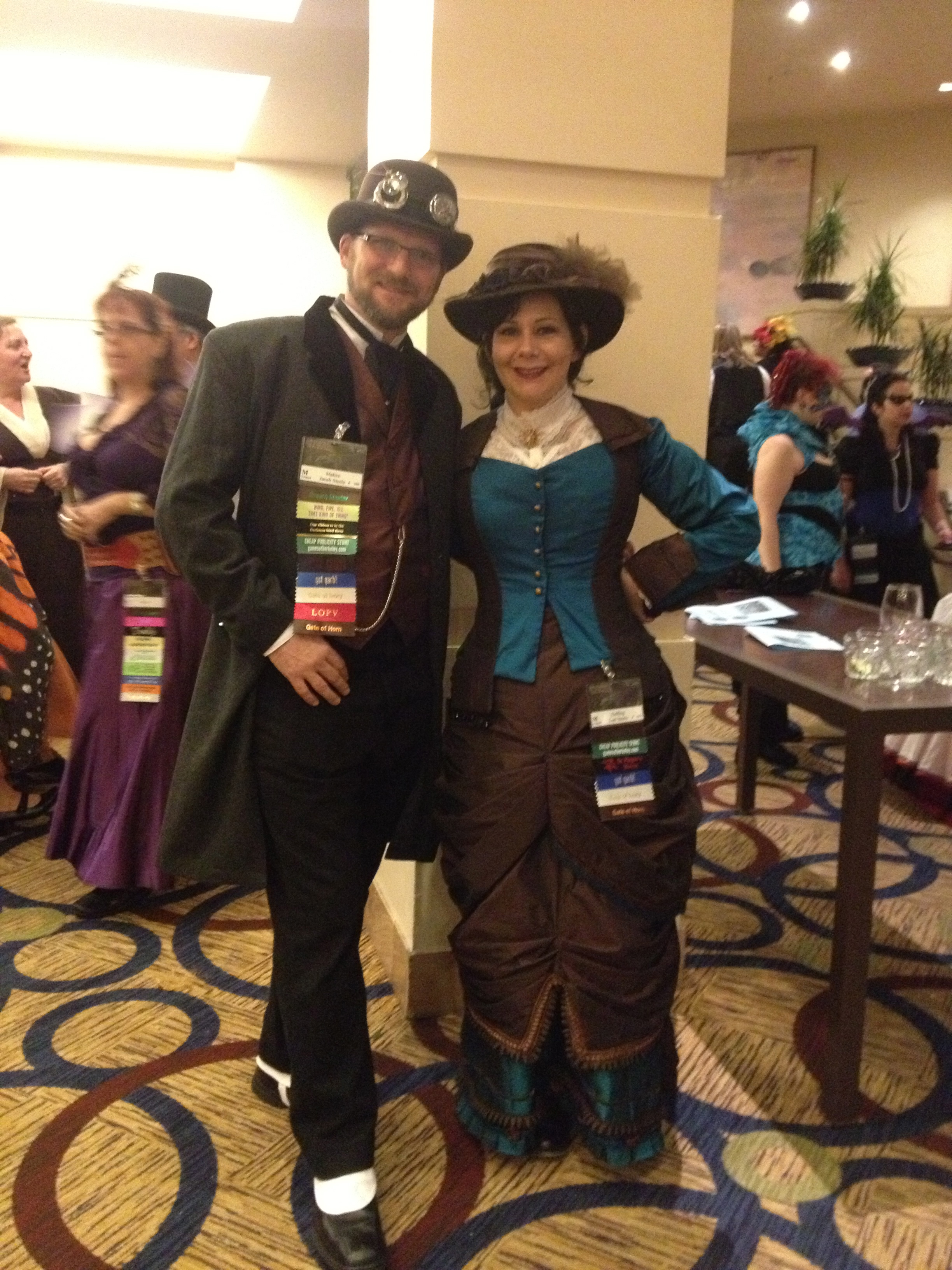 Steampunk woman and man in full costume