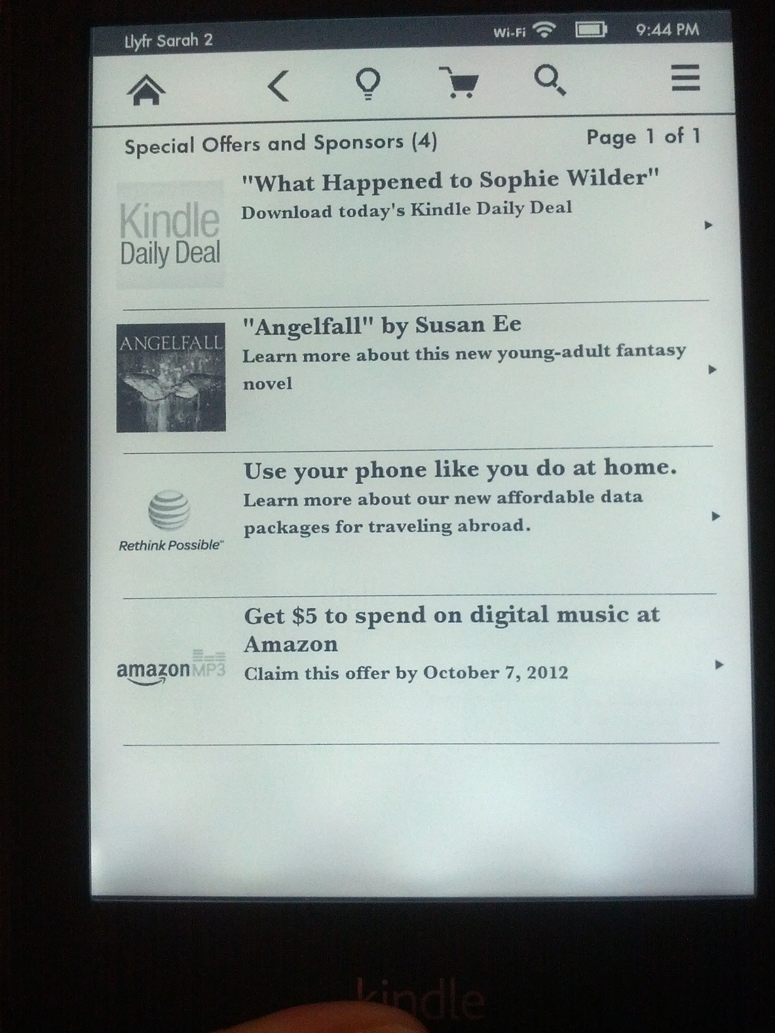 The Kindle Special Offers Page