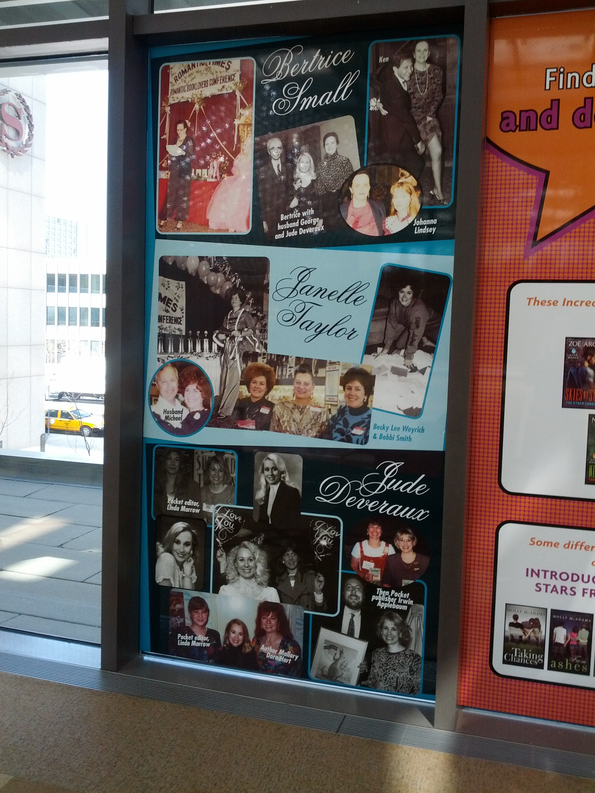 Window panels showing Jude Deveraux, Bertrice Small, and Janelle Taylor