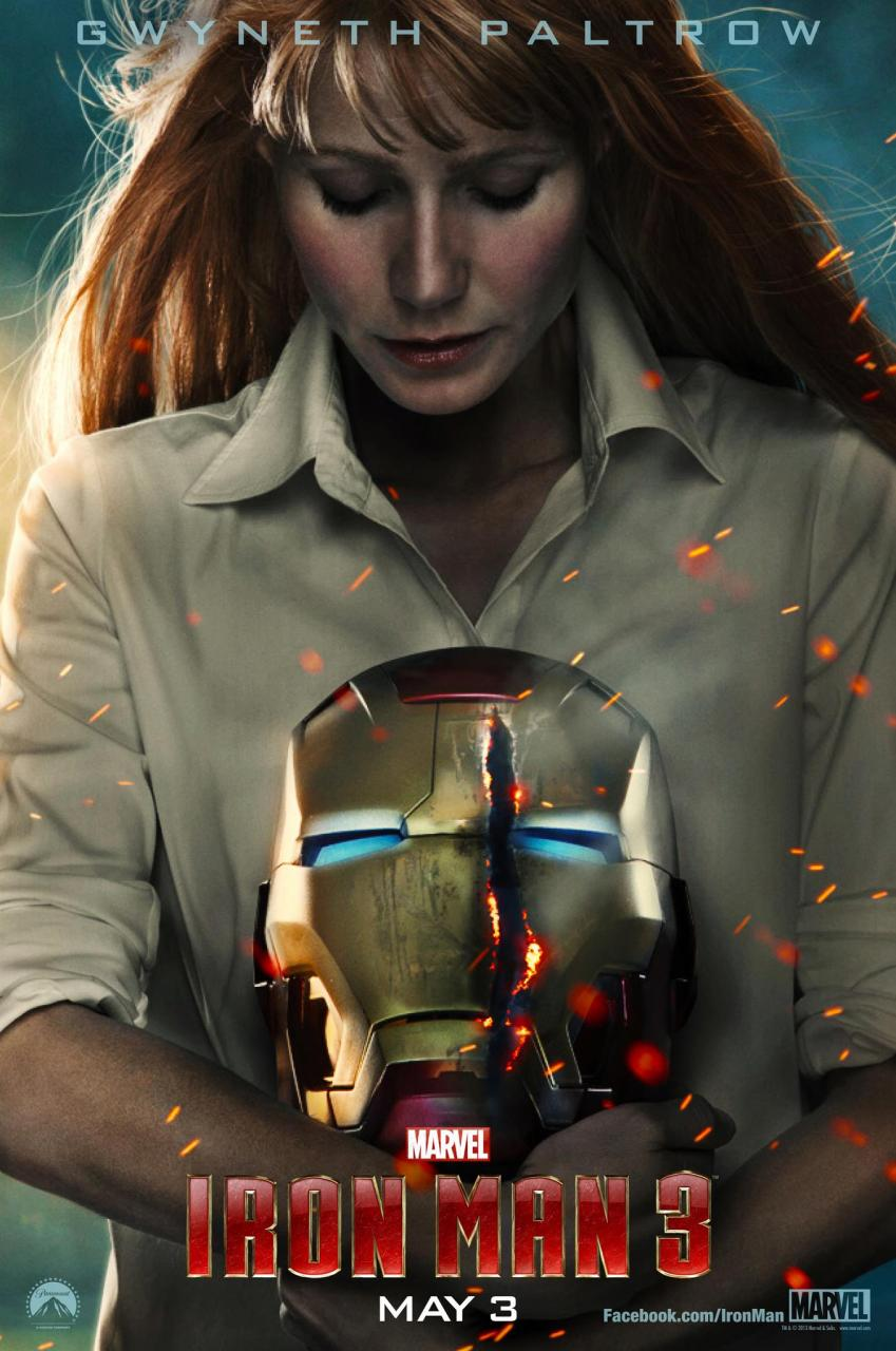 Poster for iron man 3 Gwyneth Paltrow holding Iron Man's head - only a little creepy