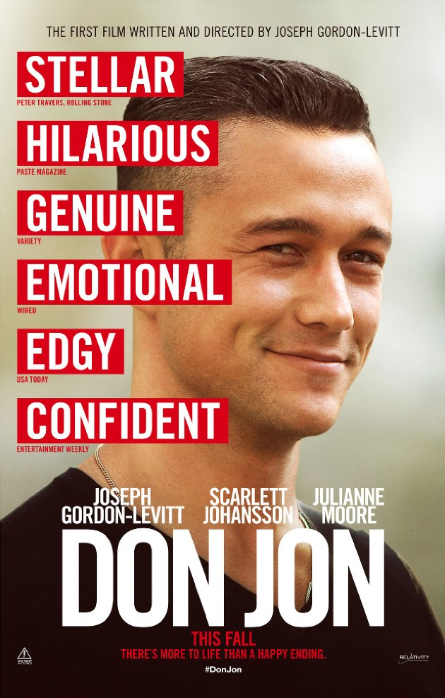 Don Jon Poster showing close up of Joseph Gordon-Levitt and one word reviews from various media outlets all positive