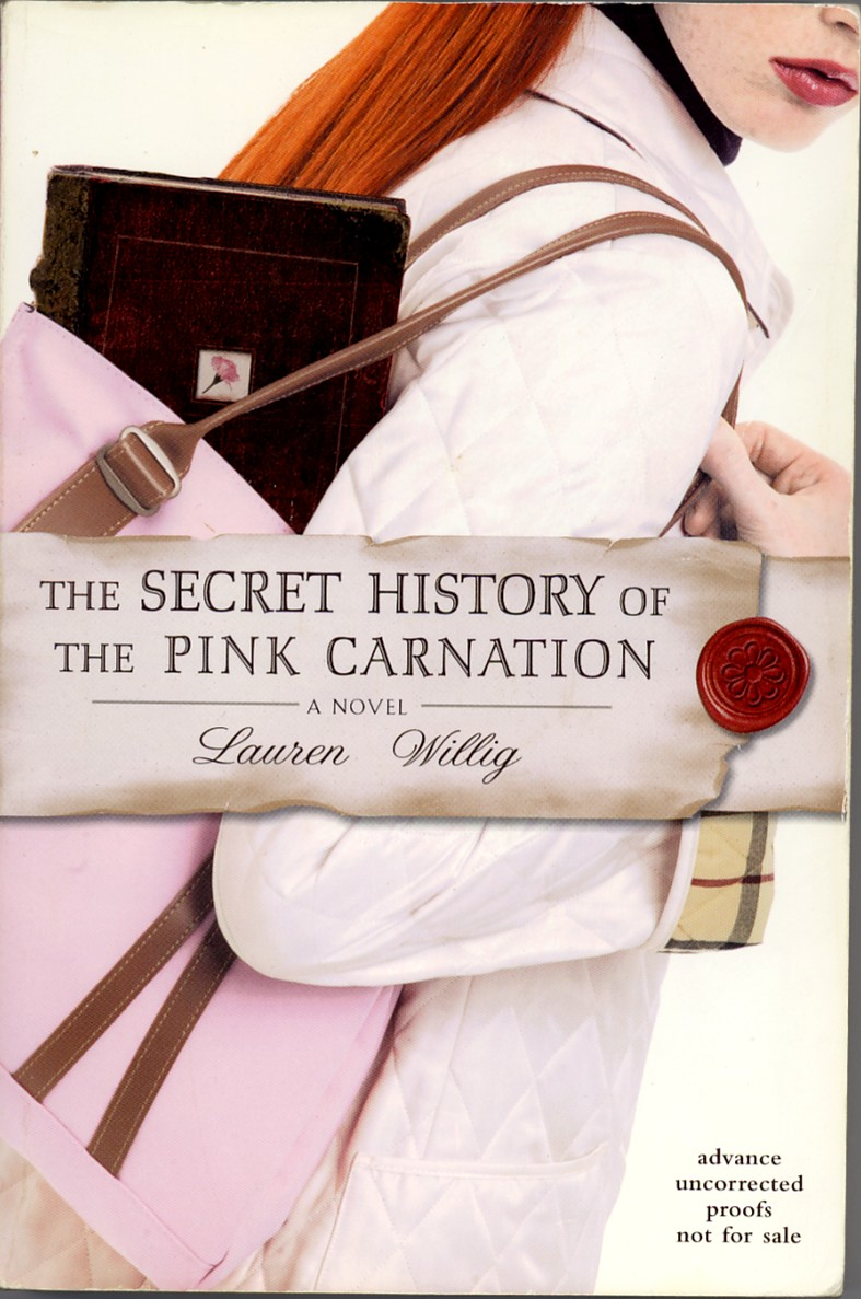Pink Carnation as chick lit - close up of red haired woman with a pink purse and a diary sticking out