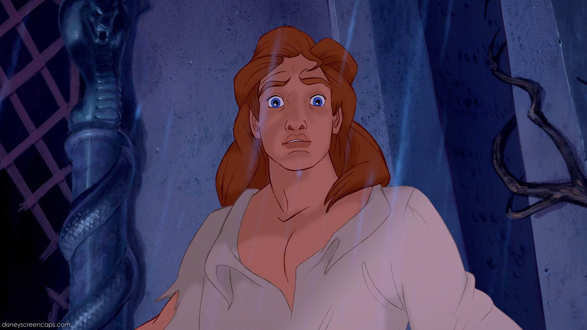 Disney prince after transforming from beast - he has a near mullet and his shirt is unbuttoned half way