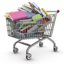 A shopping cart filled with books.