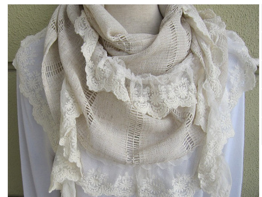 Oatmeal linen and lace scarf
