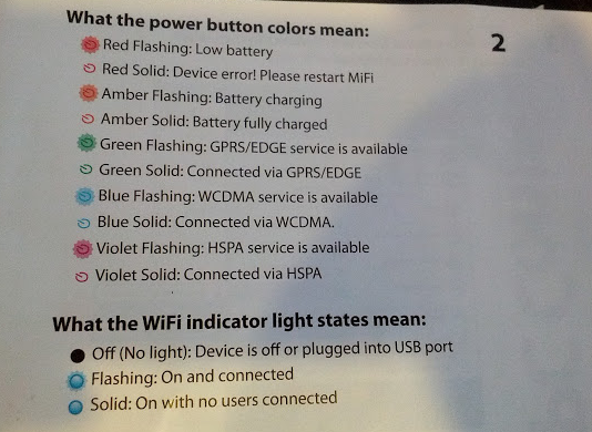 The chart telling me what all the flashing lights mean - there were 5 different colors - clearly this is NOT an accessible device.