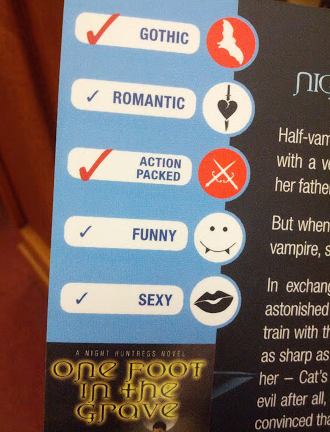 A checklist on the back of the book proclaims the book action packed, and gothic.
