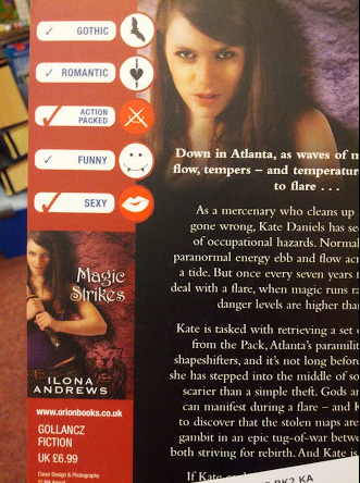 More checkmarks describing the major themes and attributes of the book - gothic, romantic, action packed, funny and/or sexy.