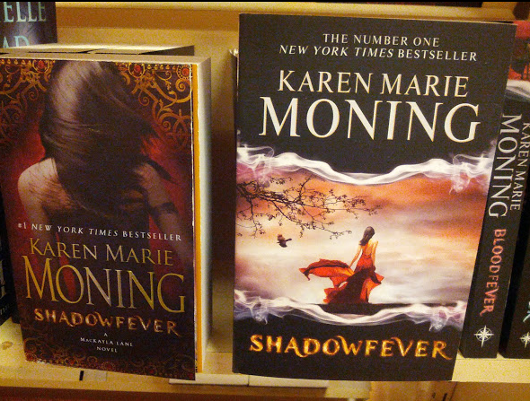 Shadowfever- mass market on the left, hardback-lite on the right.
