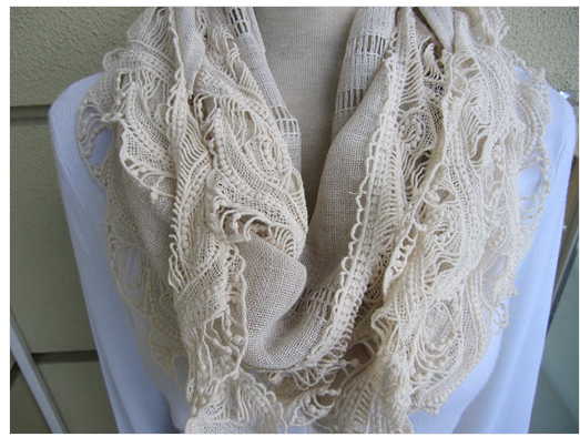 Oatmeal colored linen and lace scarf