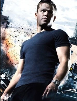 Jason Bourne - Matt Damon - with stuff blowing up behind him.