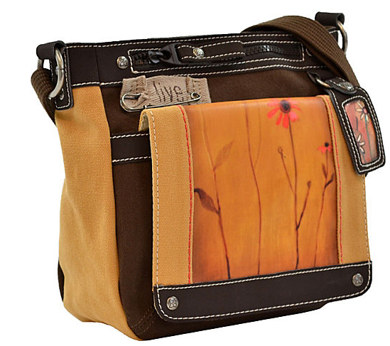 An orange and brown leather square bag with a crossbody strap