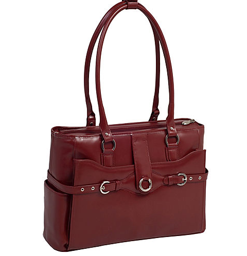 Red leather shoulder bag with structured rectangular base