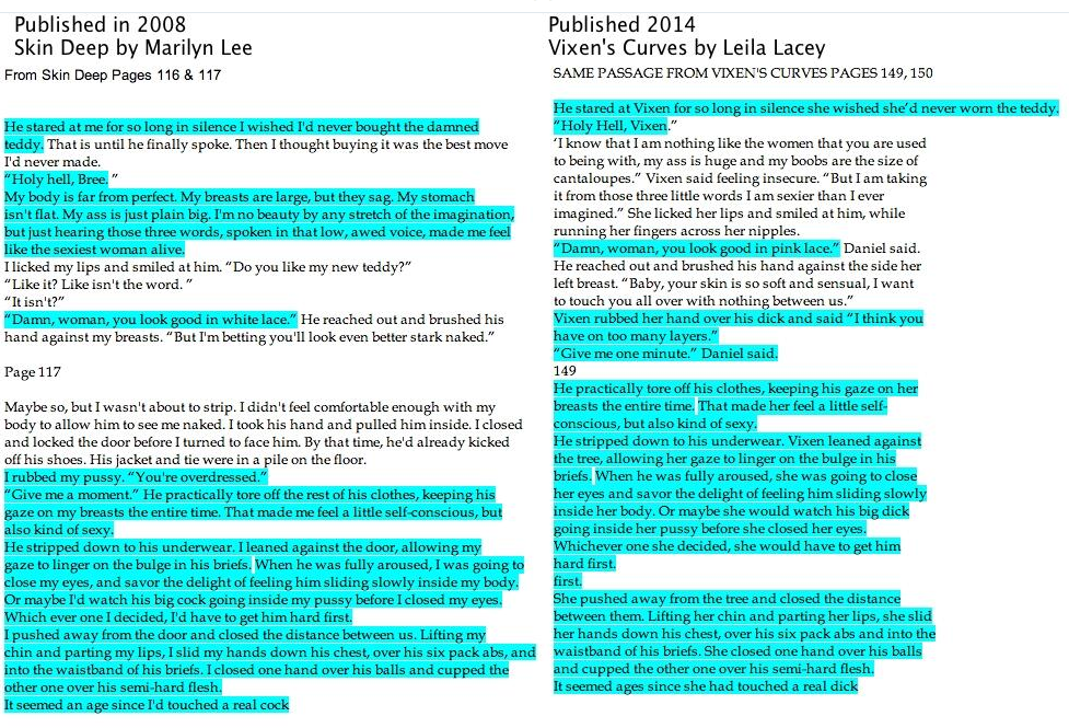 Side by side comparison of nearly identical passages in the two books