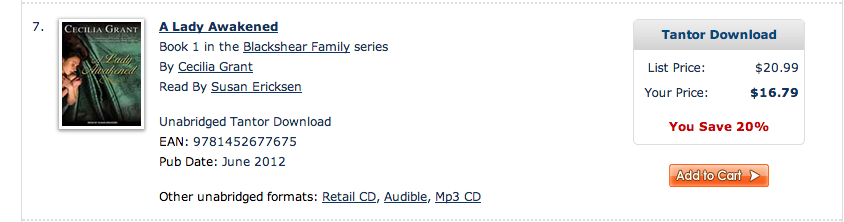 Screencap of audiobook listing showing Tantor Download in the purchase window