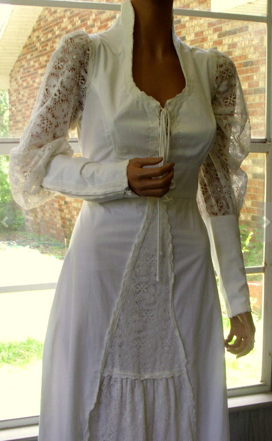 3a3f22dc9e Gunne Sax gown with high collar and lace sleeves likely white cotton