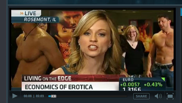 A mostly headless large c-cup pectoral floating off to the side of the CNBC host.