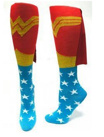 Wonder Woman knee socks with capes at the top - so cute!