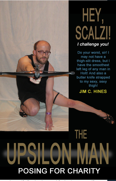 Jim C. Hines, with one leg shaved, posing with his leg out aiming a crossbow