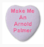 A candy heart that says