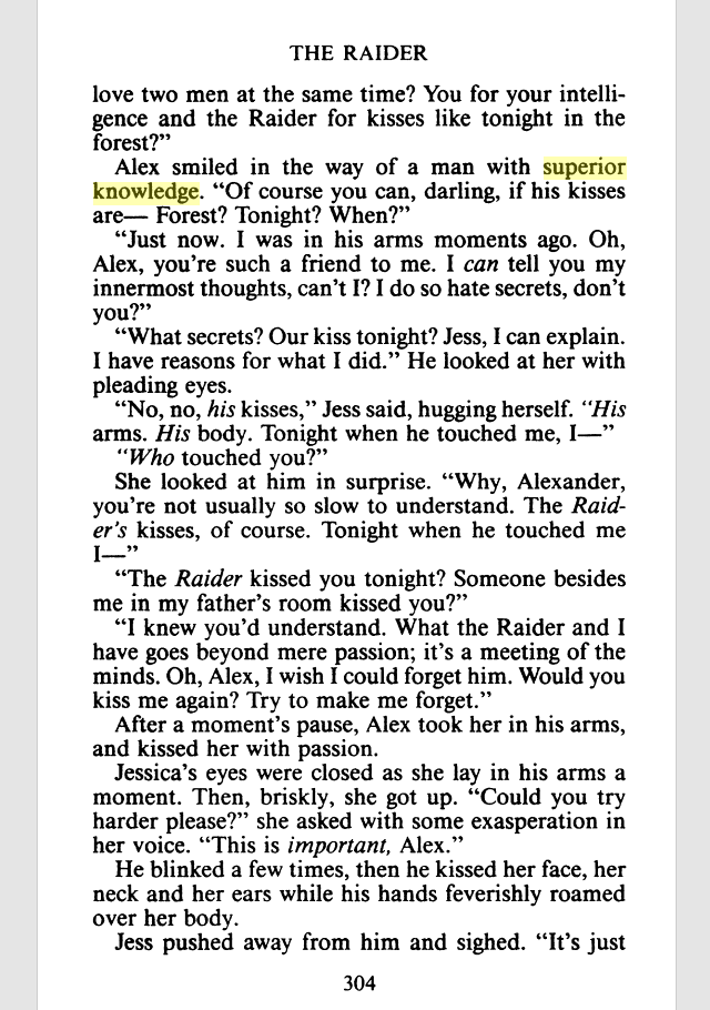 A page from Google Books that shows the text from the back: Alex smiled in the way of a man with superior knowledge. NO LIE.