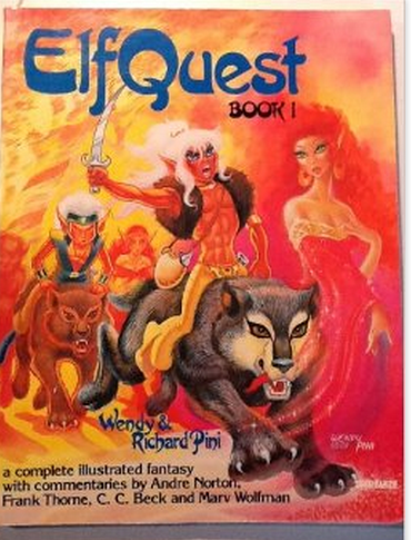 ElfQuest 1 - illustration of a dude on a wolf holding a sword