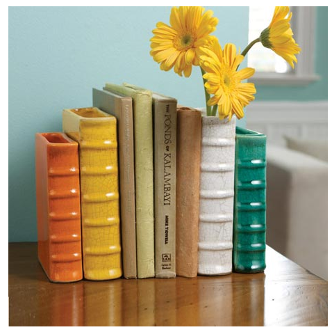 book shaped vases that are also bookends
