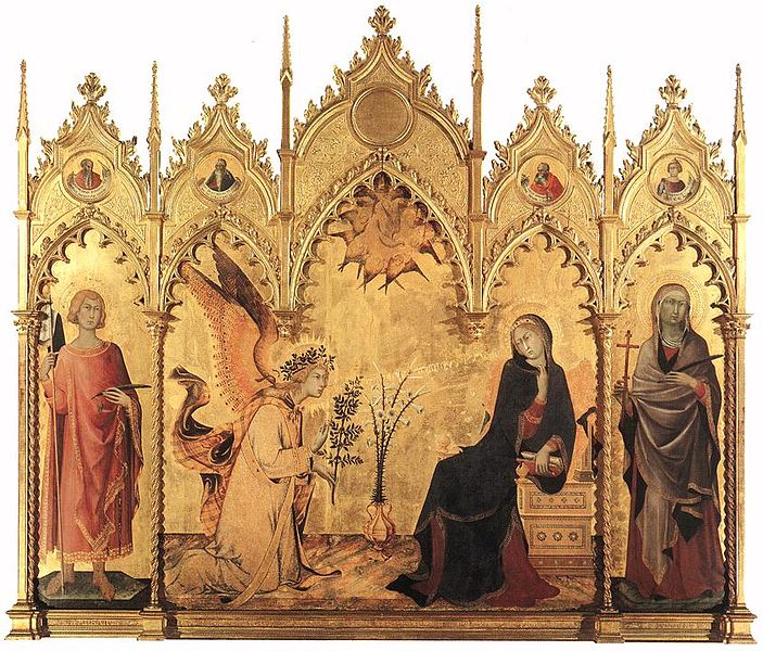 The annunciation and two saints