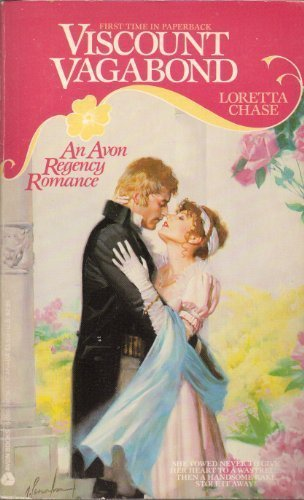 Viscount Vagabond - SO MUCH PINK - pink header with yellow swirls, pink roses, and a heroine in a pink gown being clasped by a guy with really weird sort of shaggy hair and a big big chin.