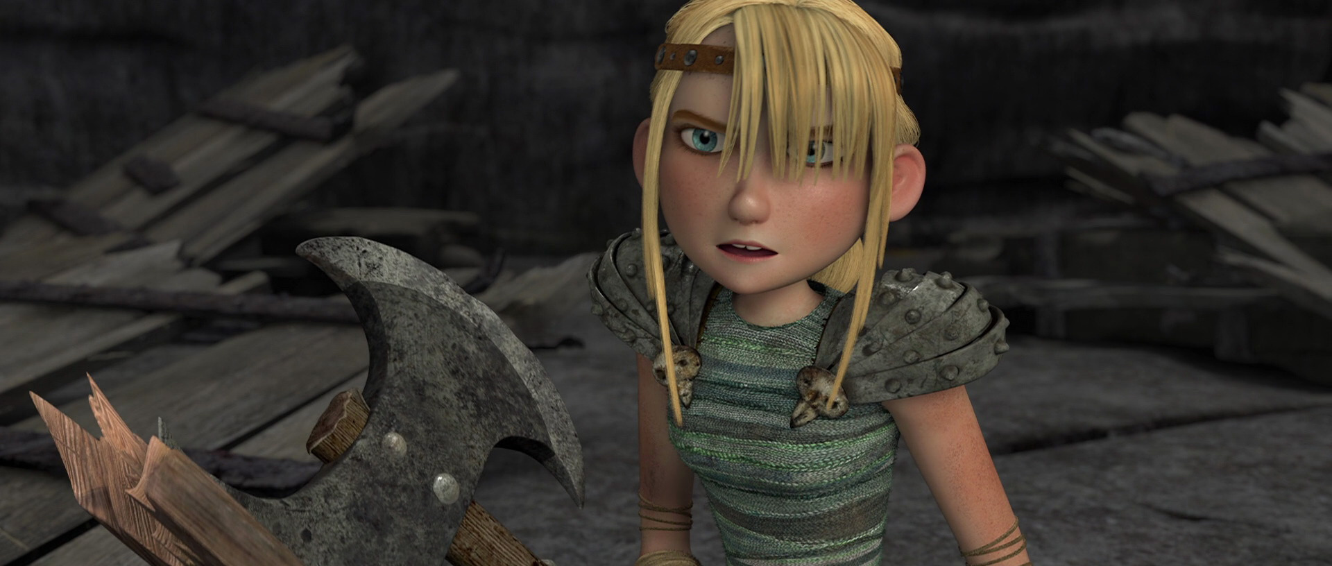 Astrid in Dragon 1: Her hair is clumpy and not finely drawn