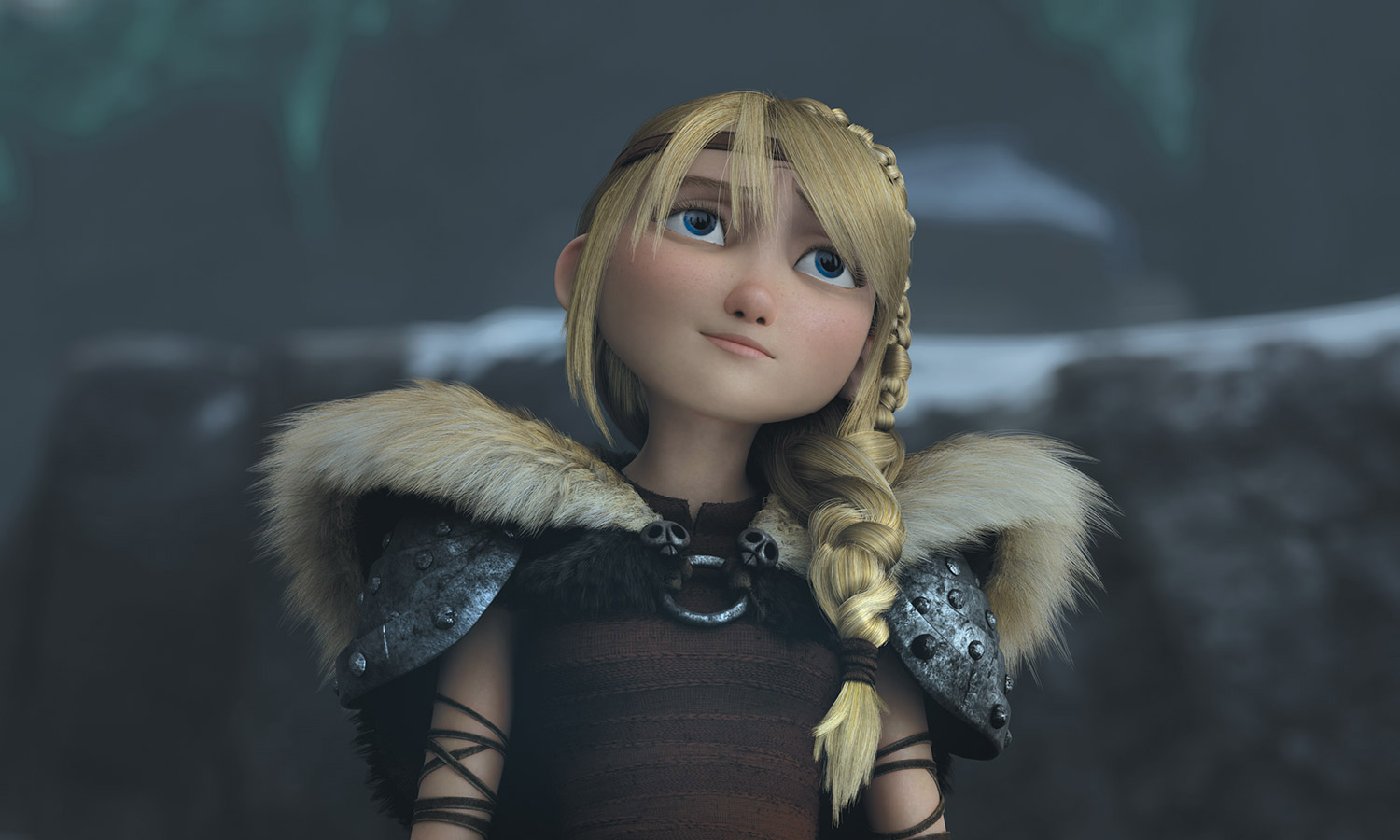 Astrid in dragon 2: her hair is much finer and there's minute detail in how the fur on her shoulders and her hair is rendered digitally