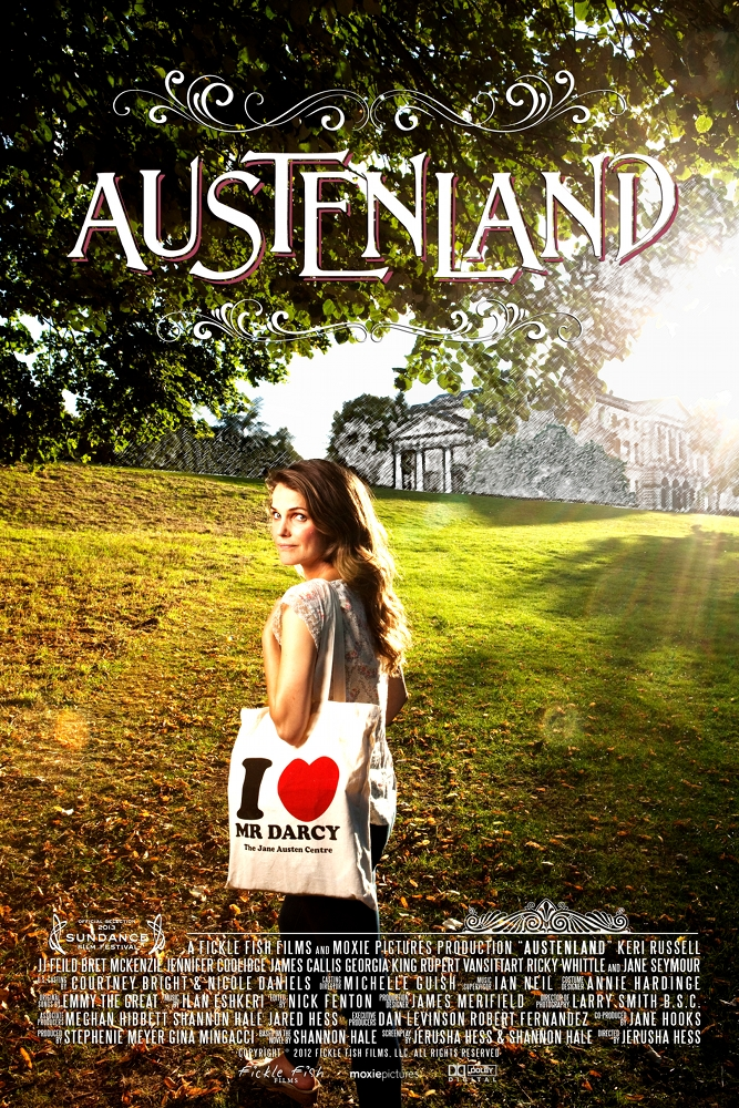 Austenland: Keri Russel with a totebag that reads