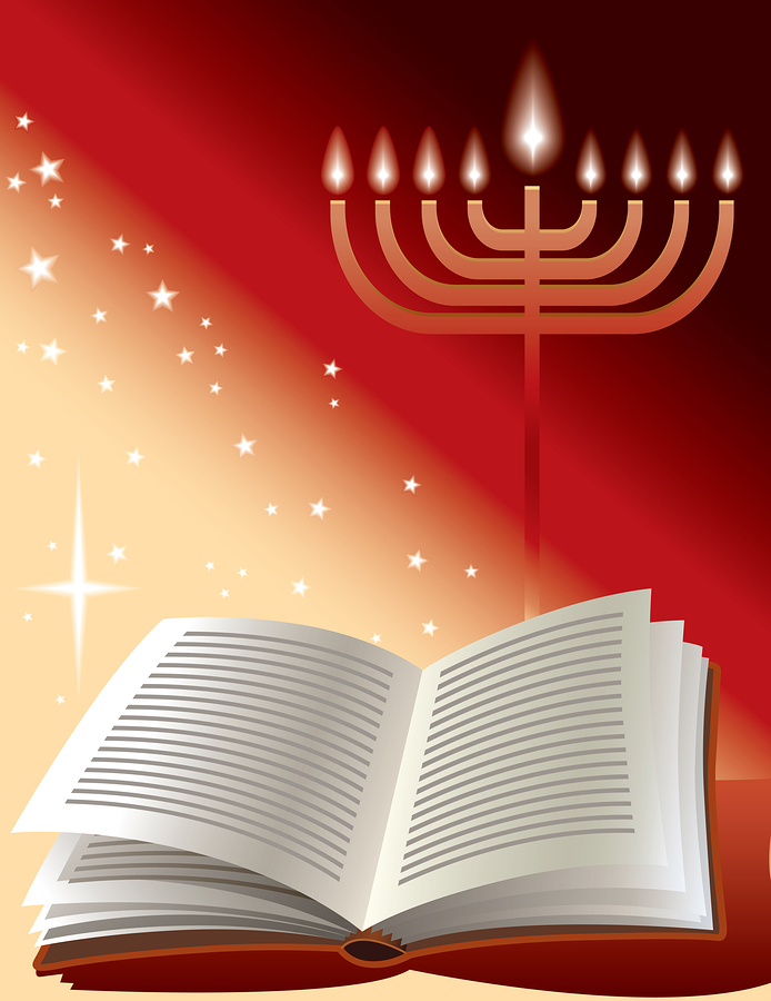 A menorah and a book against a red background