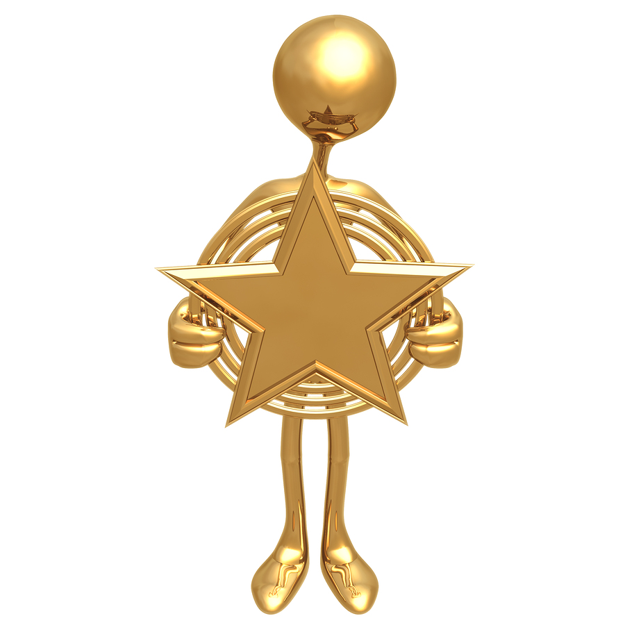 A gold stick figure holding a big gold star