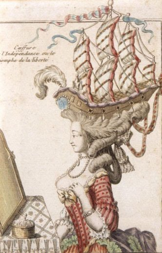 Engraving of a woman whose hair is shaped into a three masted ship.