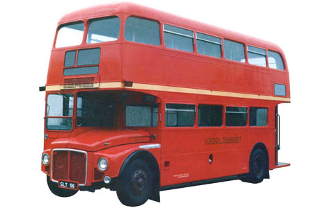 Red double decker tour bus - and old one