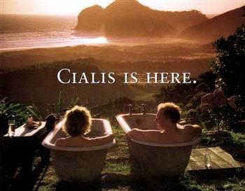 Cialis-  two people on a hillside in separate bathtubs. No I have no idea why.
