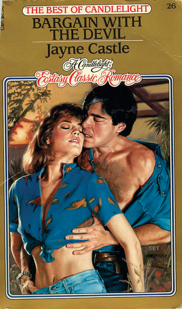 Bargain with the Devil by Jayne Castle - there is some HOT HAWAIIAN SHIRT ACTION on the heroine, and he's grabbing her muffin top.