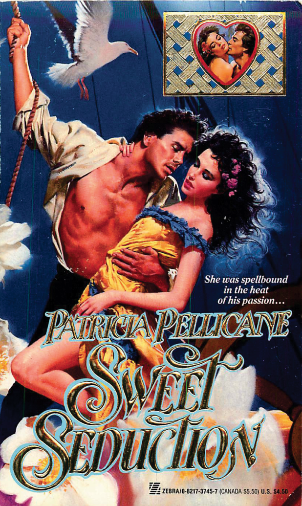 Sweet Seduction by Patricia Pellicane. He's holding onto a rope on board a ship, but flowers are exploding under him, and a seagull is about to crap on his shoulder from mid-air.