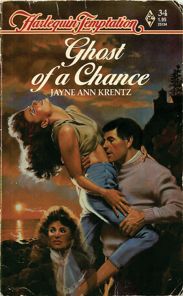 Ghost of a Chance by Jayne Ann Krentz - purple crewneck on the hillside, and she's being lifted into the air. It's bizarre.