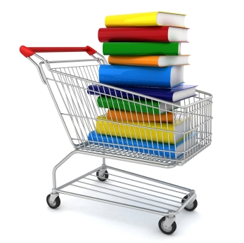 Stack of books in a shopping cart